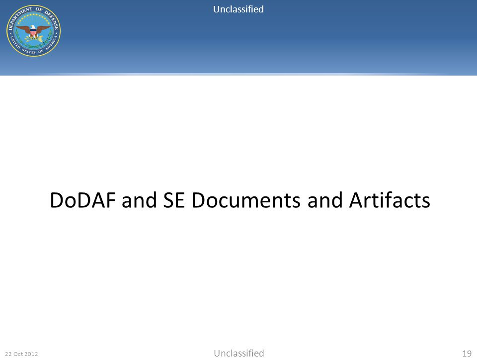 DoDAF and SE Documents and Artifacts