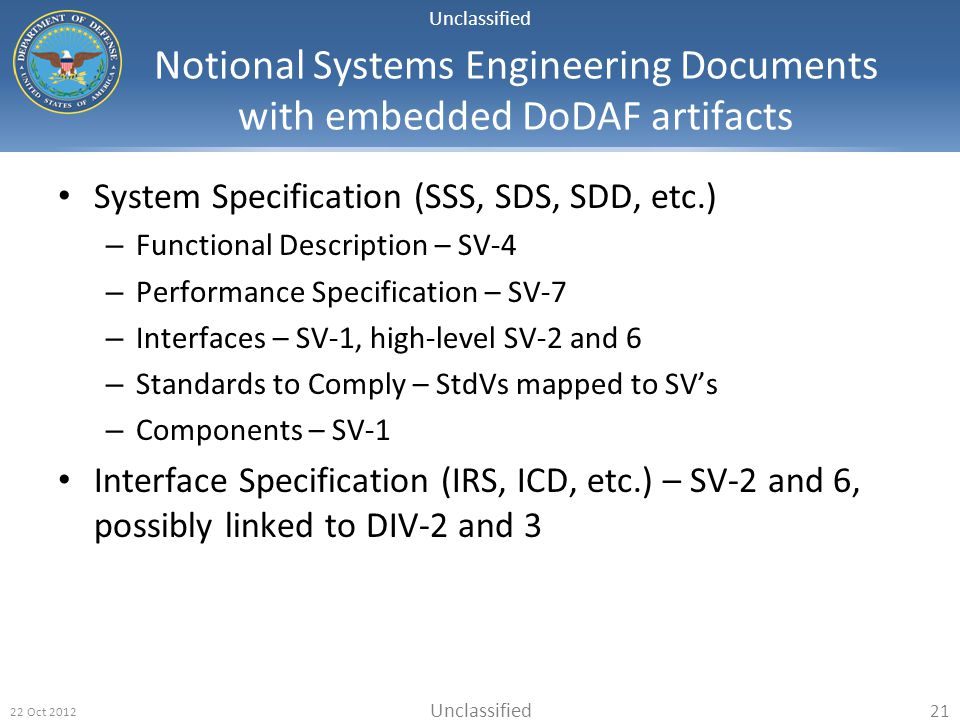 Notional Systems Engineering Documents with embedded DoDAF artifacts