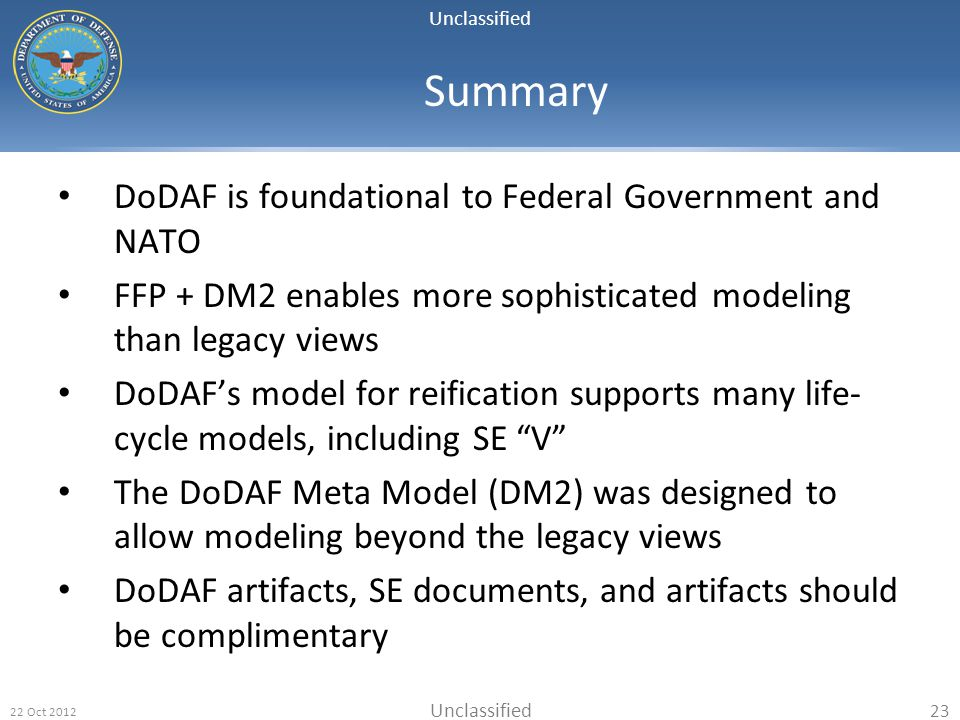Summary DoDAF is foundational to Federal Government and NATO