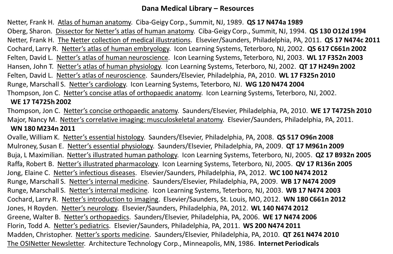 Dana Medical Library – Resources