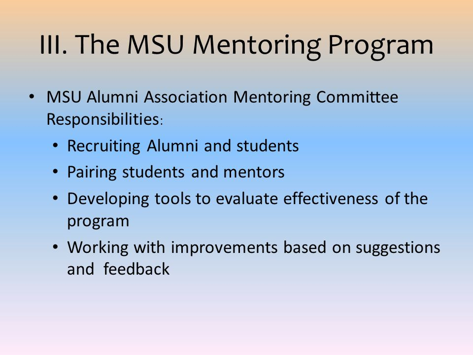 III. The MSU Mentoring Program