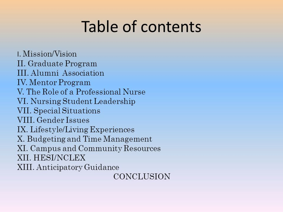 Table of contents I. Mission/Vision II. Graduate Program