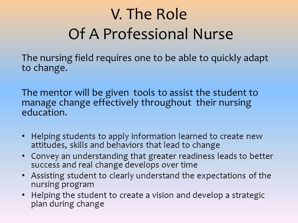 V. The Role Of A Professional Nurse