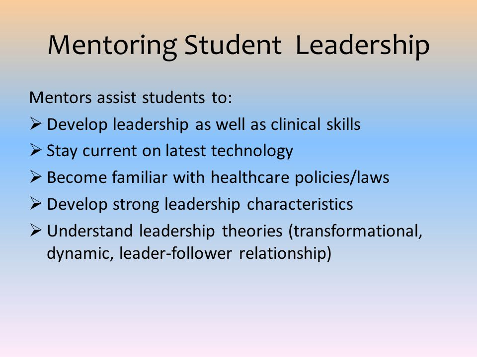 Mentoring Student Leadership