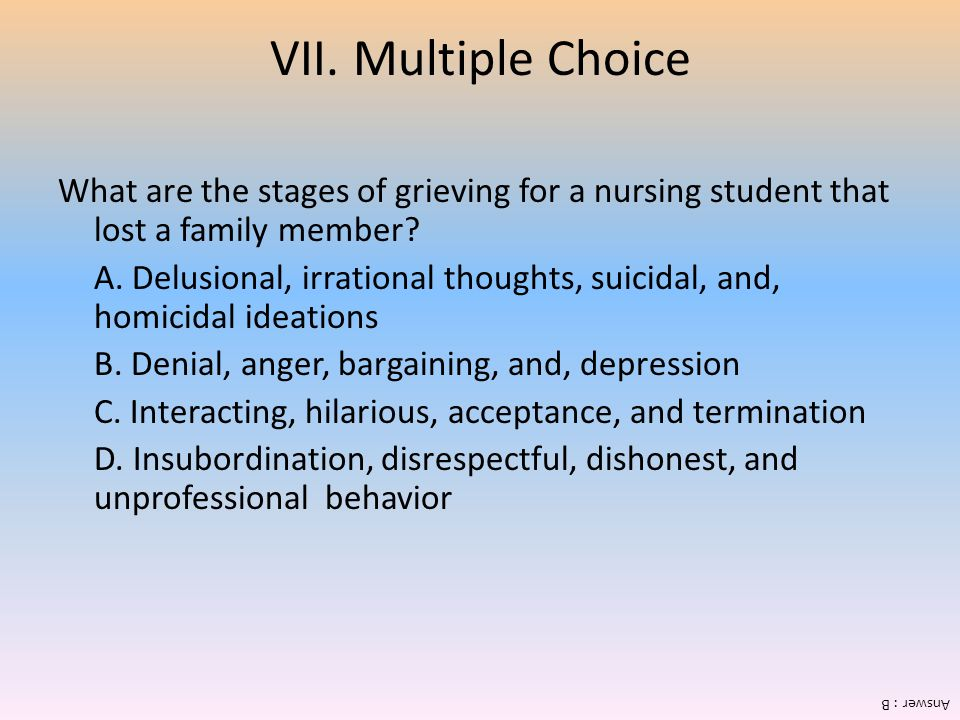 VII. Multiple Choice What are the stages of grieving for a nursing student that lost a family member
