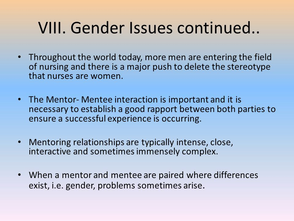 VIII. Gender Issues continued..