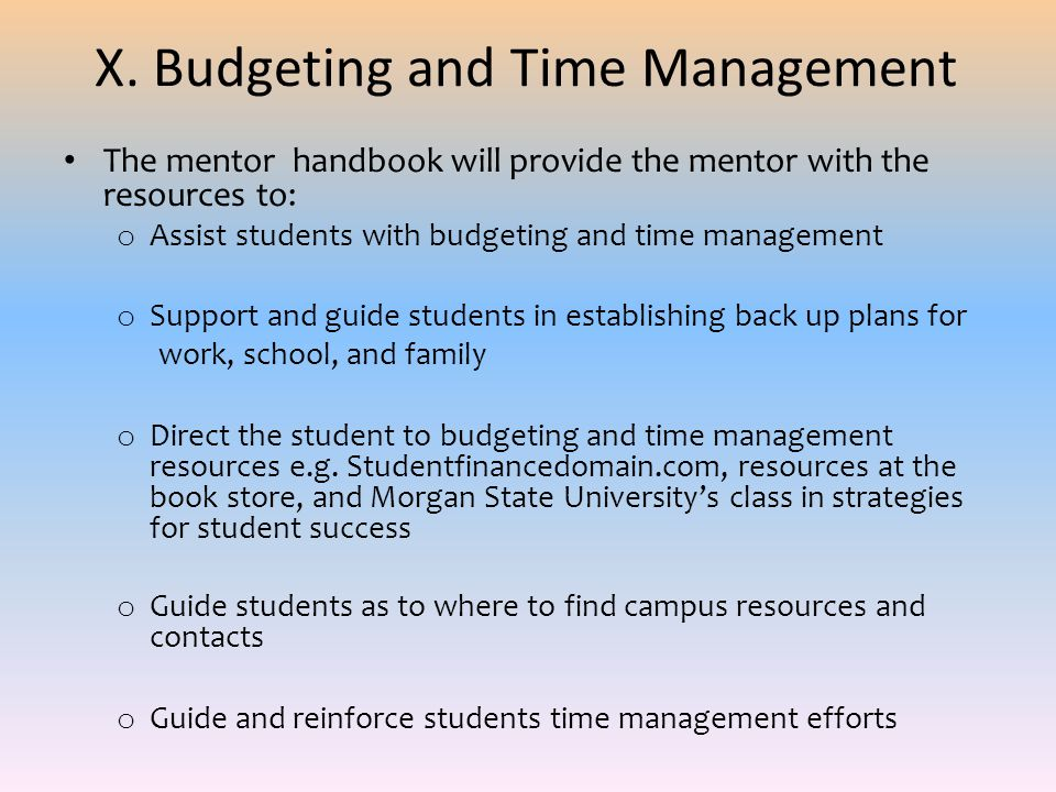 X. Budgeting and Time Management