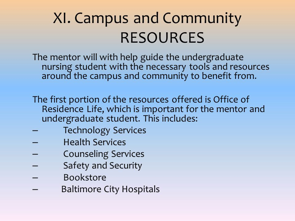 XI. Campus and Community RESOURCES