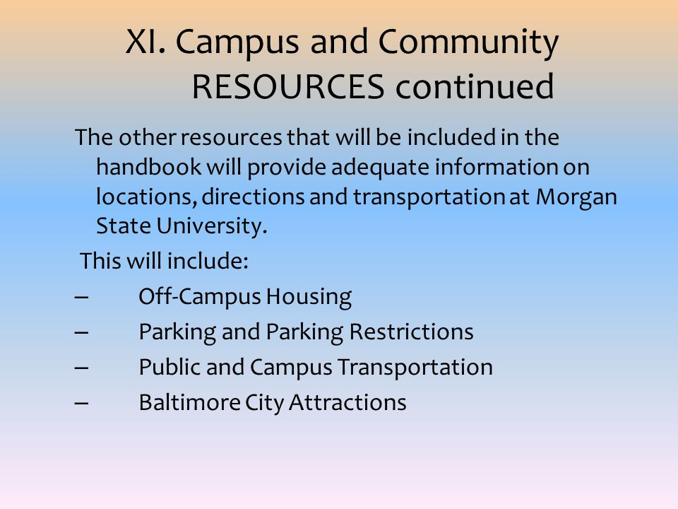 XI. Campus and Community RESOURCES continued