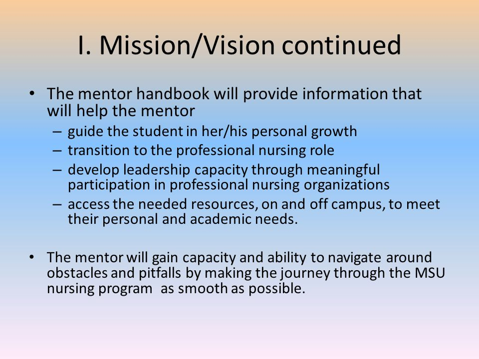 I. Mission/Vision continued