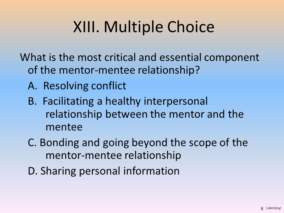 XIII. Multiple Choice