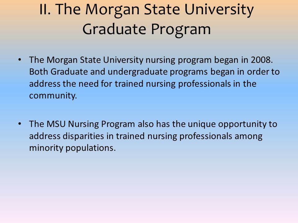 II. The Morgan State University Graduate Program