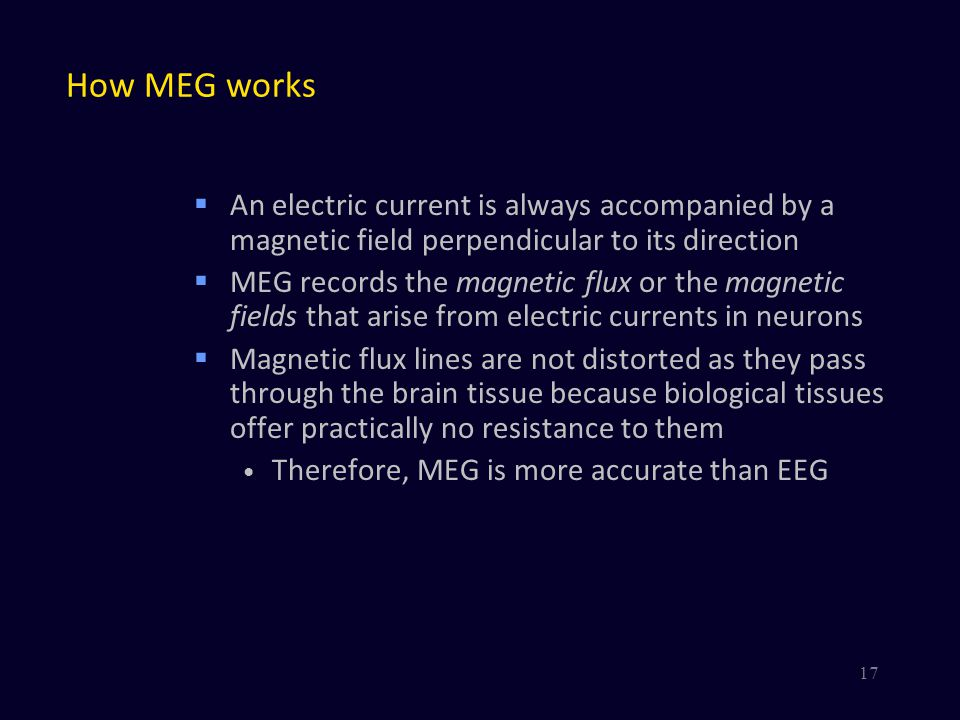 How MEG works An electric current is always accompanied by a magnetic field perpendicular to its direction.