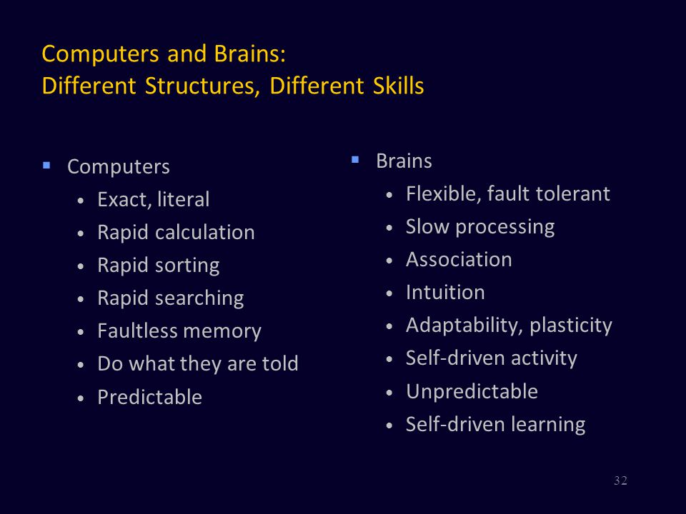 Computers and Brains: Different Structures, Different Skills