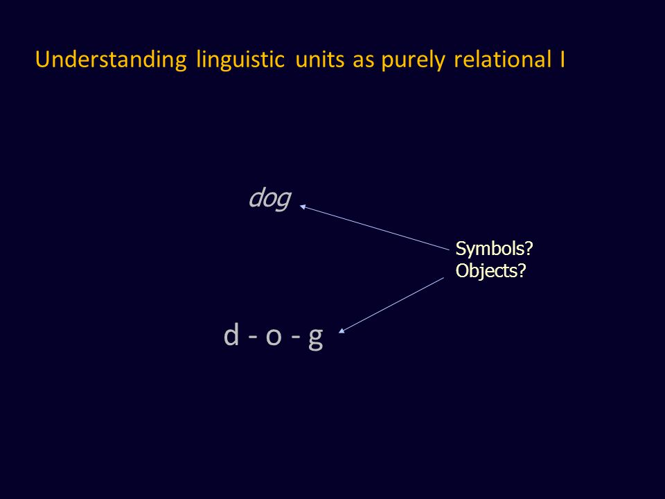 Understanding linguistic units as purely relational I