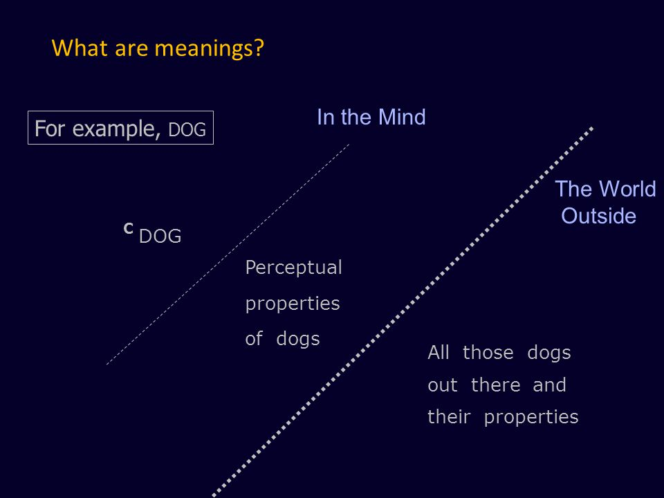 What are meanings In the Mind For example, DOG The World Outside DOG