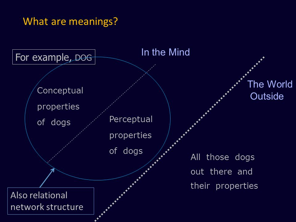 What are meanings In the Mind For example, DOG The World Outside