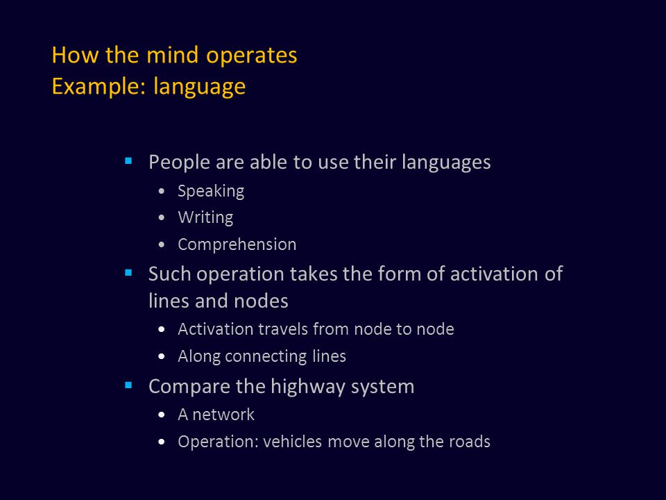 How the mind operates Example: language