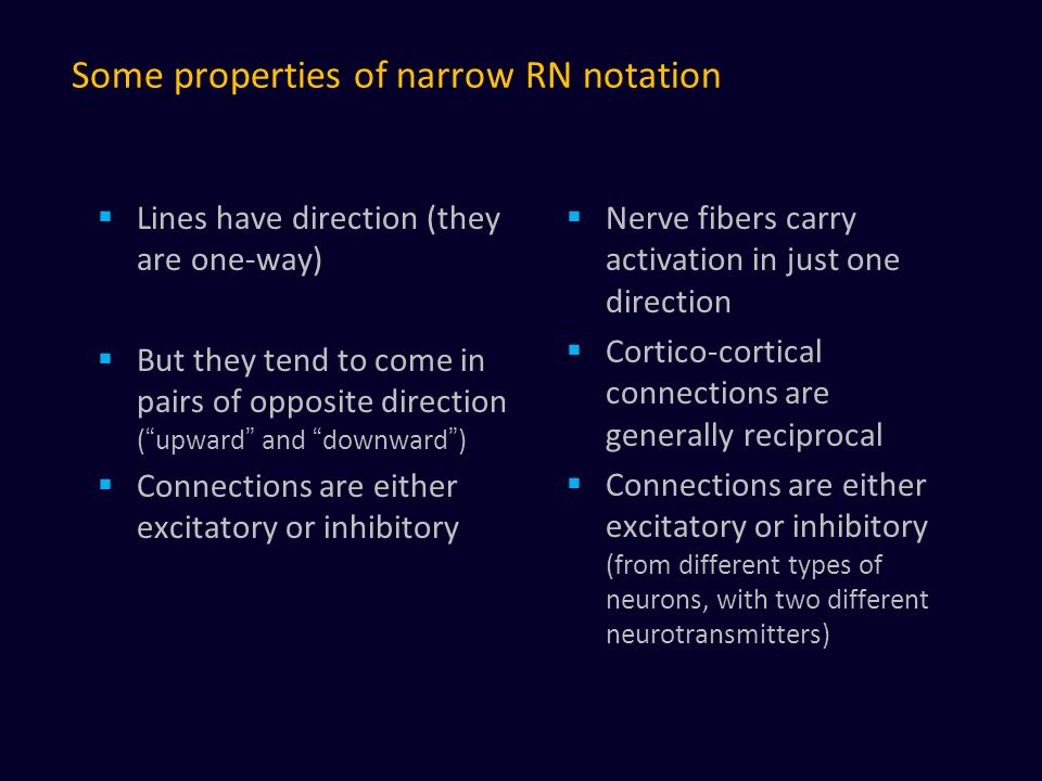 Some properties of narrow RN notation