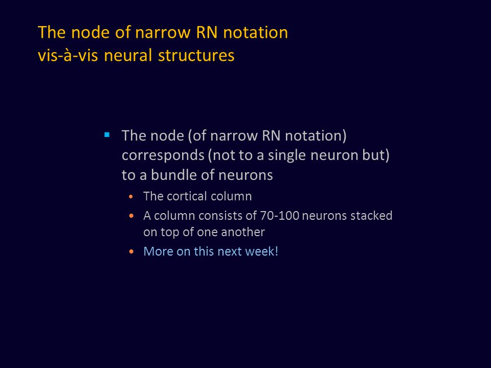 The node of narrow RN notation vis-à-vis neural structures