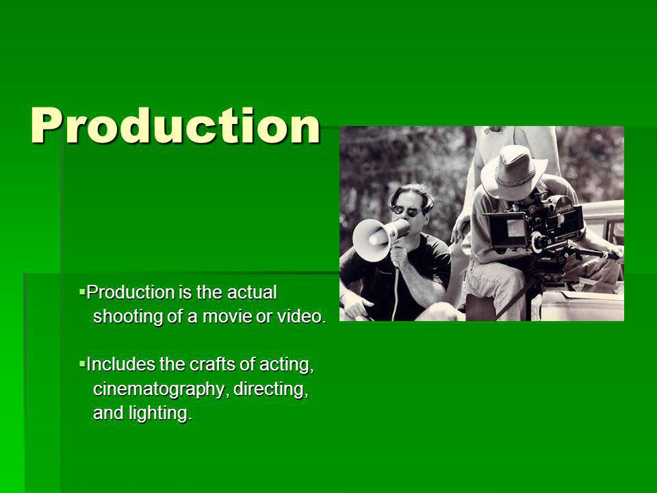 Production Production is the actual shooting of a movie or video.
