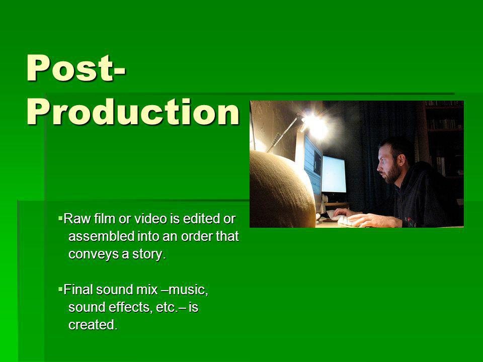 Post-Production Raw film or video is edited or