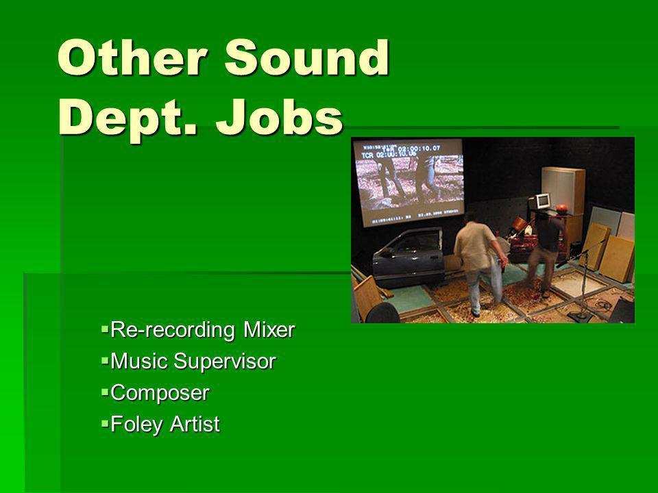 Re-recording Mixer Music Supervisor Composer Foley Artist
