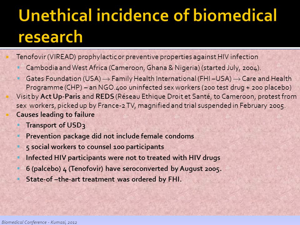 Unethical incidence of biomedical research