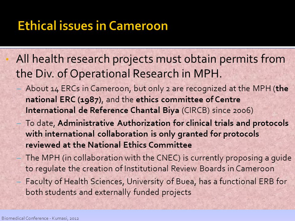 Ethical issues in Cameroon