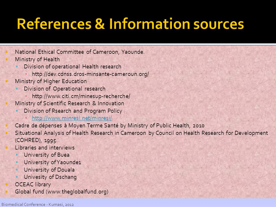 References & Information sources