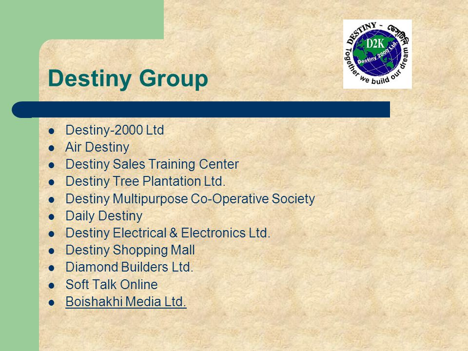 Destiny Group Destiny-2000 Ltd Air Destiny