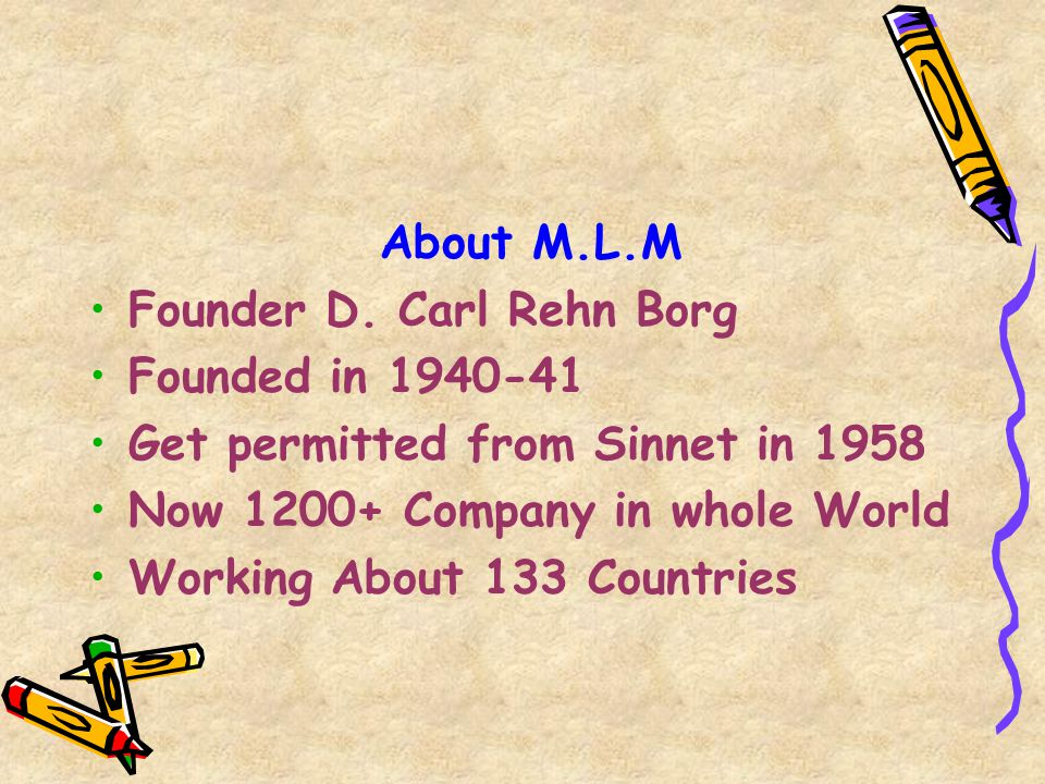 About M.L.M Founder D. Carl Rehn Borg. Founded in 1940-41. Get permitted from Sinnet in 1958. Now 1200+ Company in whole World.