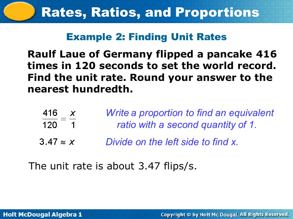 Example 2: Finding Unit Rates