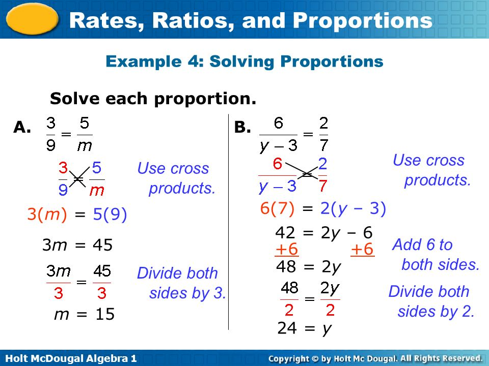 Example 4: Solving Proportions