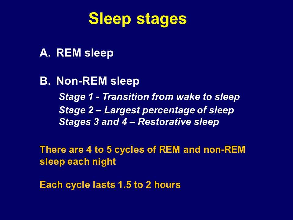Sleep stages REM sleep Non-REM sleep