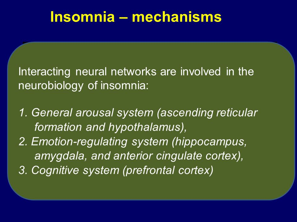 Insomnia – mechanisms Interacting neural networks are involved in the neurobiology of insomnia: