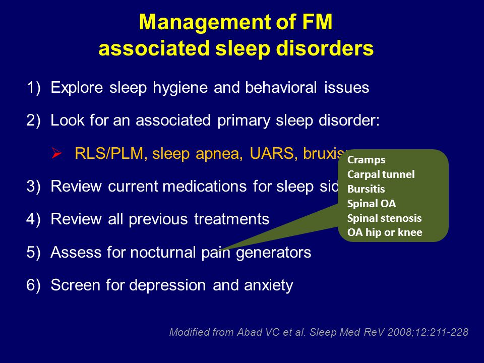Management of FM associated sleep disorders