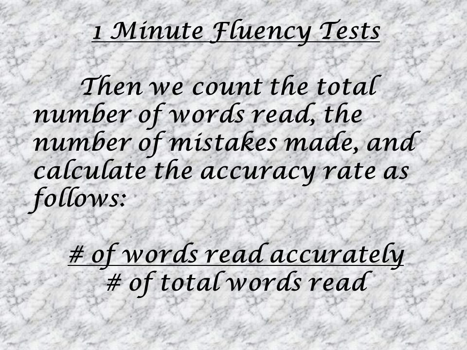 # of words read accurately