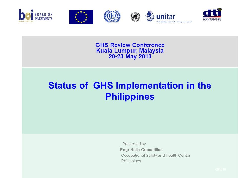 Status of GHS Implementation in the Philippines