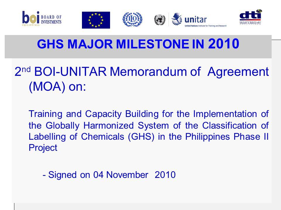 2nd BOI-UNITAR Memorandum of Agreement (MOA) on: