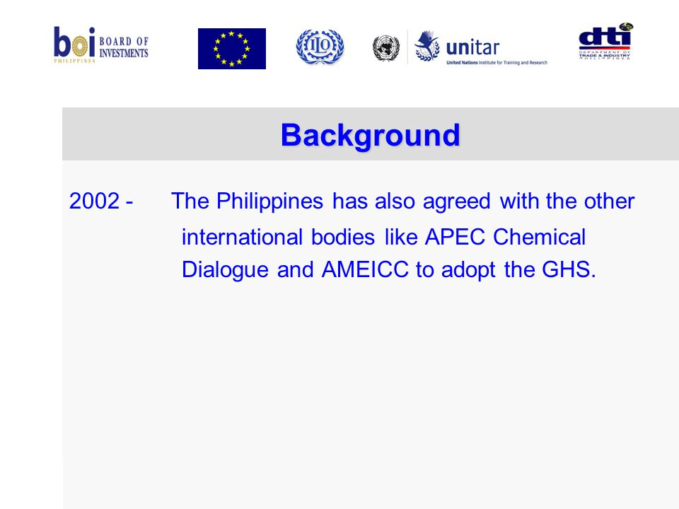 Background 2002 - The Philippines has also agreed with the other