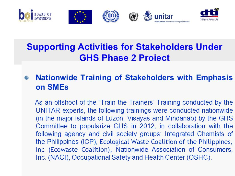 Supporting Activities for Stakeholders Under GHS Phase 2 Project