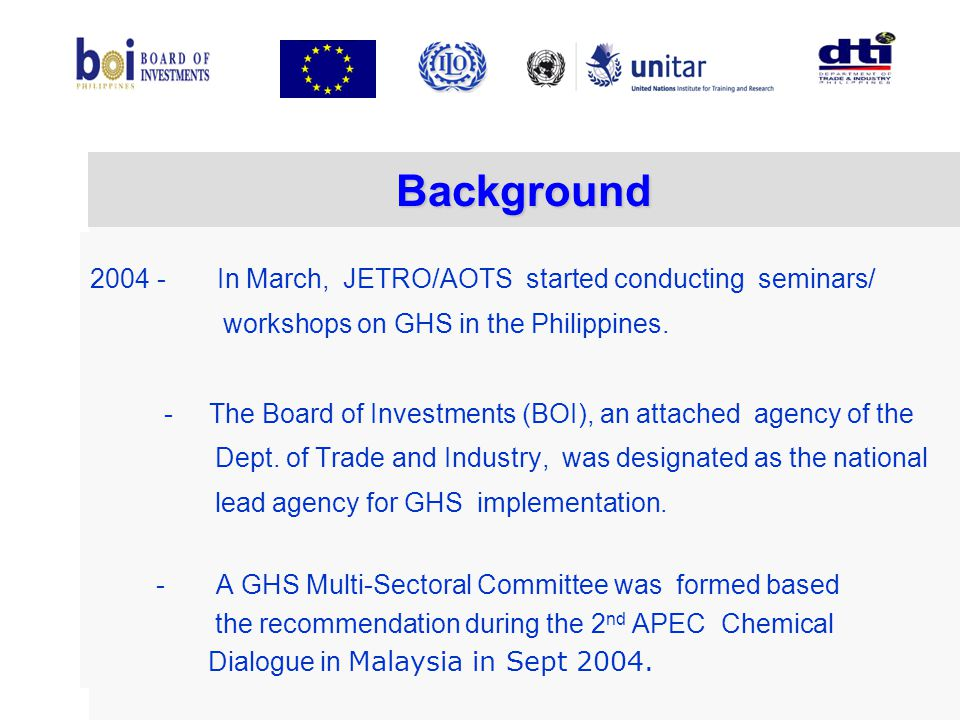 Background 2004 - In March, JETRO/AOTS started conducting seminars/
