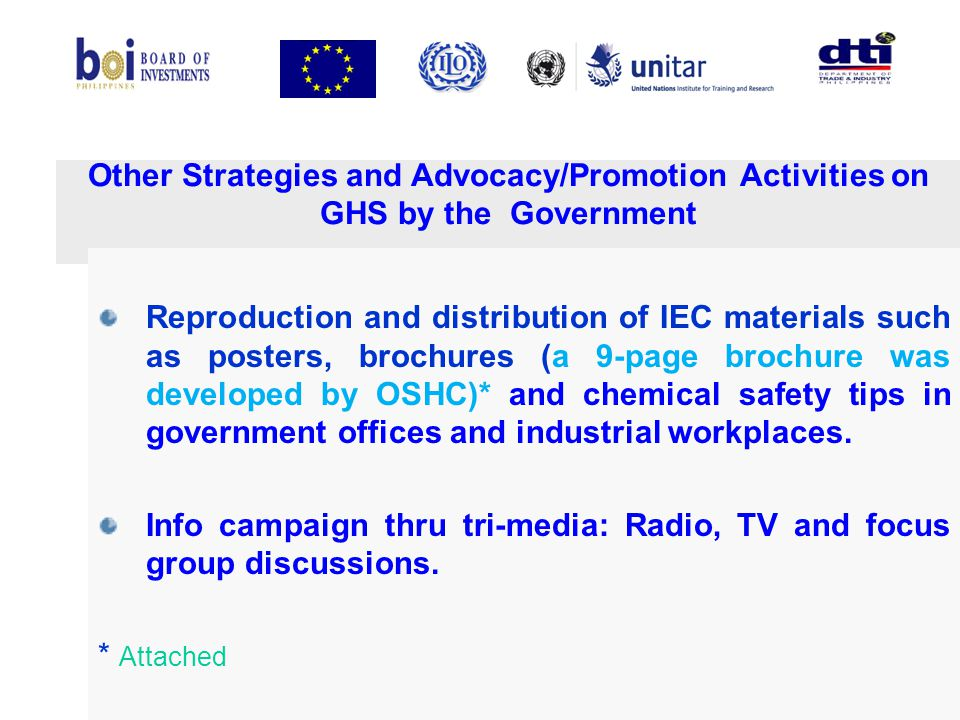Info campaign thru tri-media: Radio, TV and focus group discussions.