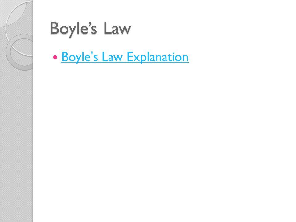 Boyle's Law Boyle s Law Explanation