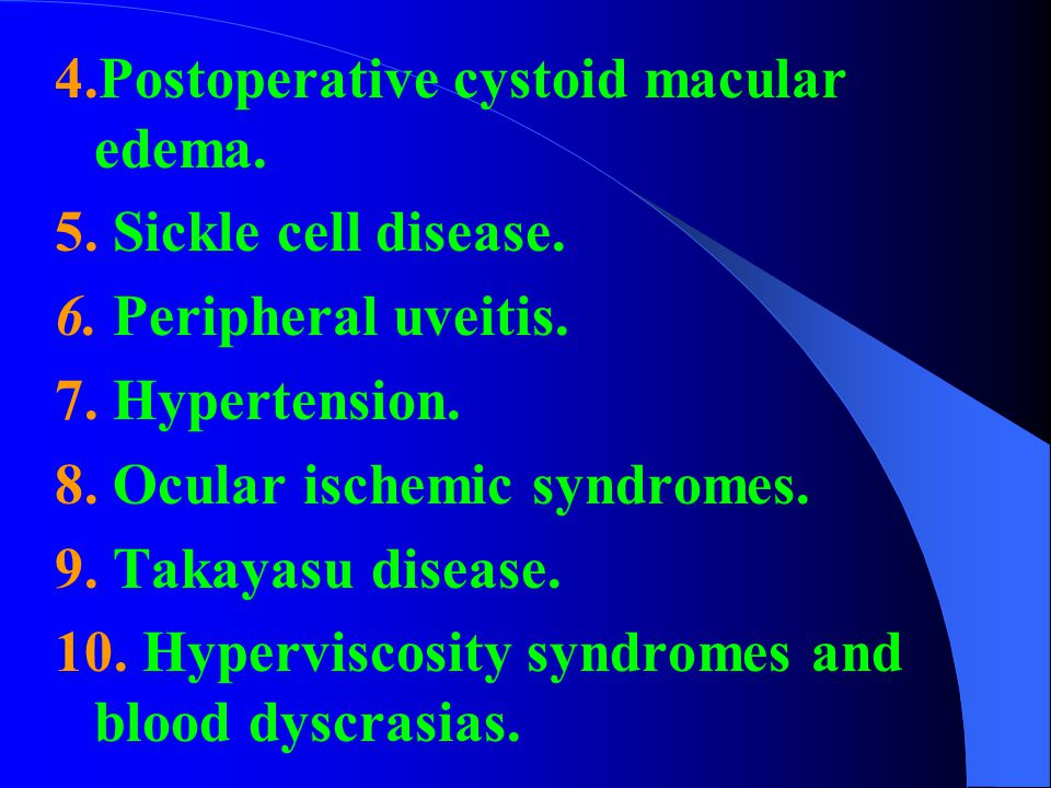 4.Postoperative cystoid macular edema.