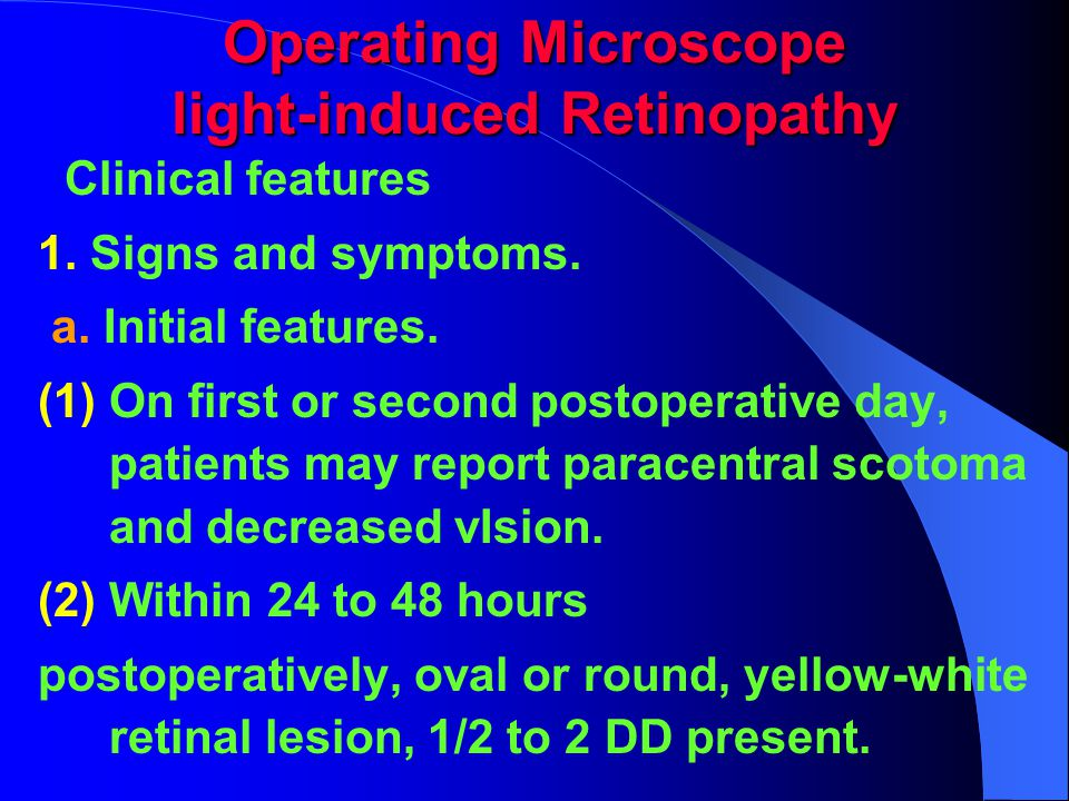Operating Microscope light-induced Retinopathy