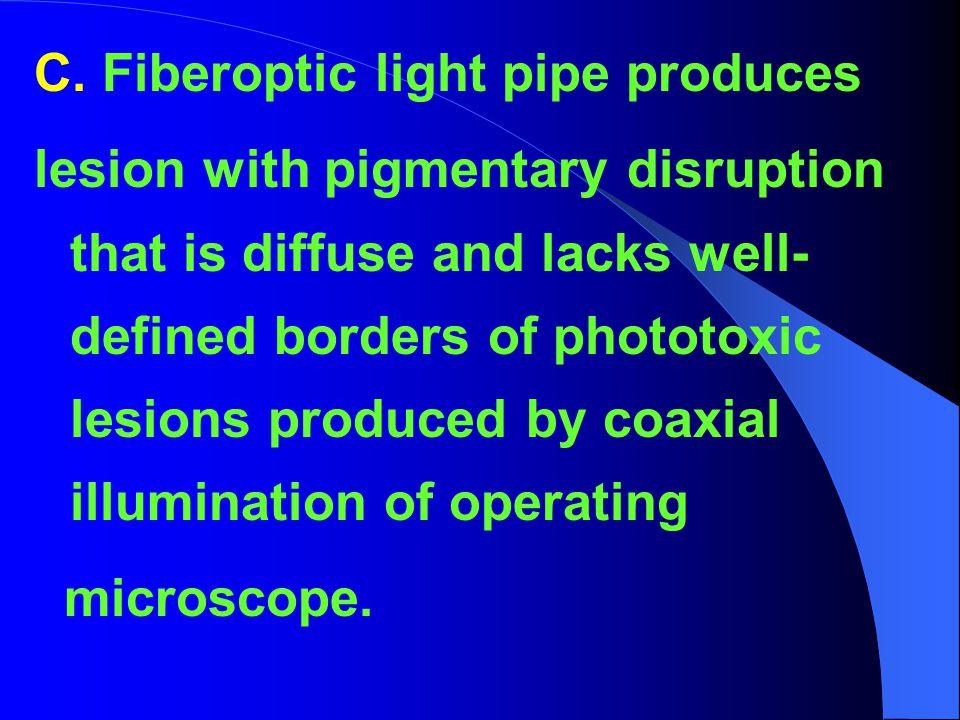 C. Fiberoptic light pipe produces