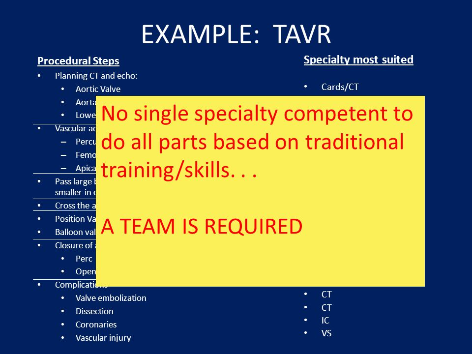 EXAMPLE: TAVR Procedural Steps. Planning CT and echo: Aortic Valve. Aorta. Lower extremities. Vascular access.
