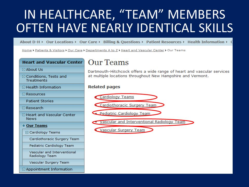IN HEALTHCARE, TEAM MEMBERS OFTEN HAVE NEARLY IDENTICAL SKILLS